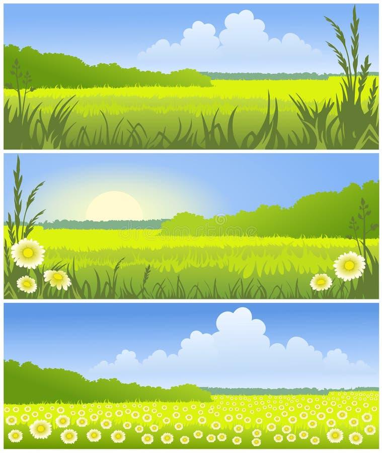 Paesaggi pieni di sole illustrazione di stock