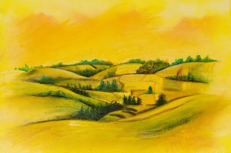 Paesaggi sulla tela di canapa dell'olio royalty illustrazione gratis