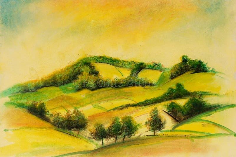 Paesaggi sulla tela di canapa dell'olio illustrazione di stock