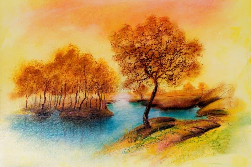 Paesaggi sulla tela di canapa dell'olio illustrazione vettoriale