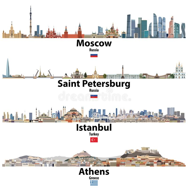 Paesaggi urbani di Mosca, di San Pietroburgo, di Costantinopoli e di Atene Bandiere della Russia, di Turchia e della Grecia Alto  illustrazione di stock