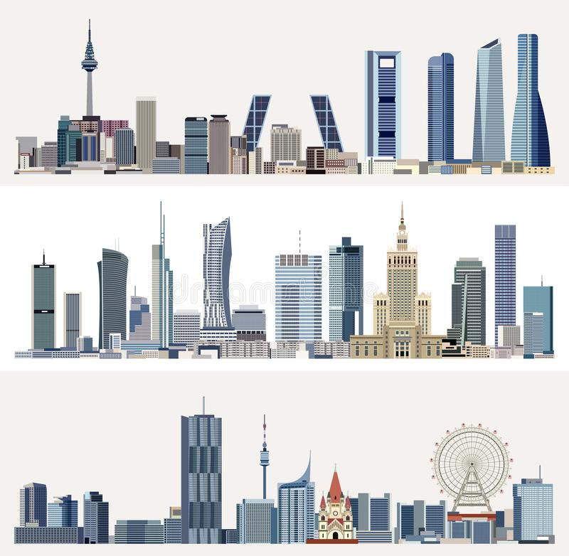 Paesaggi urbani urbani di vettore con i grattacieli illustrazione vettoriale