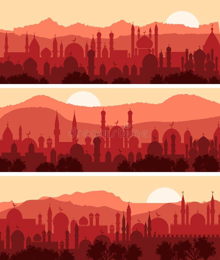 Paesaggi urbani musulmani illustrazione di stock