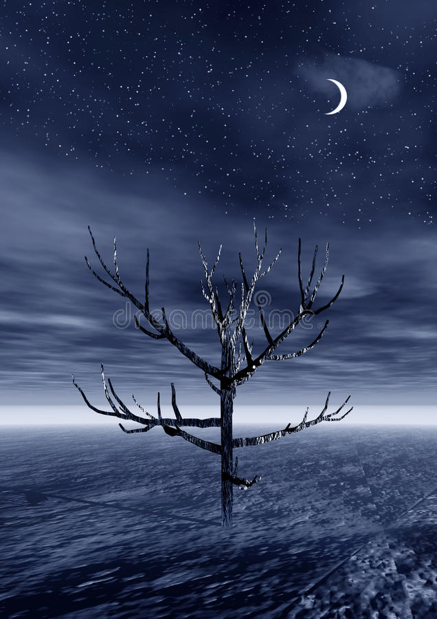 paesaggio 3d con l'albero solo. Notte royalty illustrazione gratis