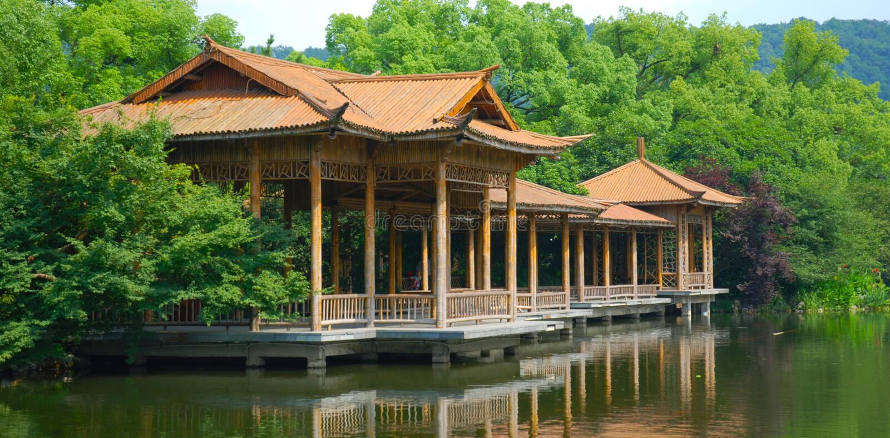 Paesaggio ad ovest del lago Hangzhou immagini stock