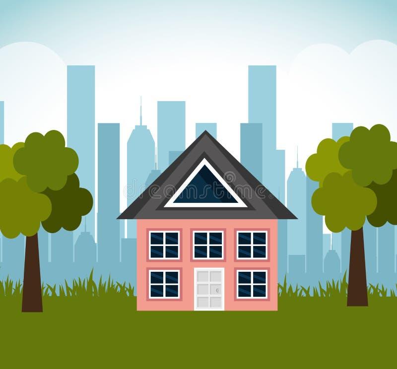 Paesaggio adorabile del sobborgo della famiglia della casa illustrazione di stock