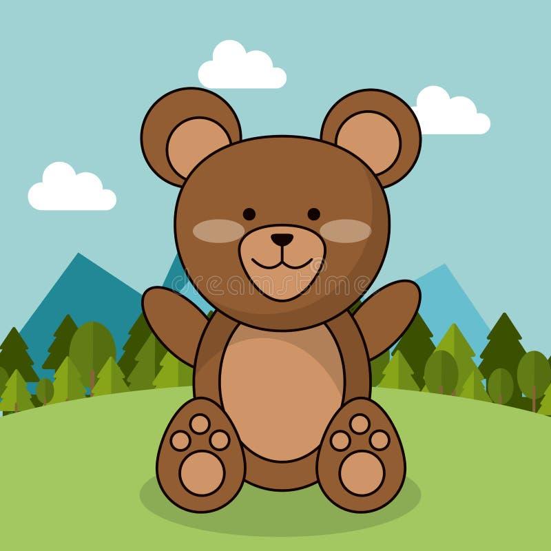 Paesaggio adorabile dell'orsacchiotto sveglio dell'orso naturale illustrazione vettoriale