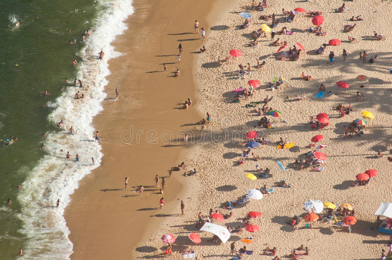 Paesaggio aereo della spiaggia di Vermelha della Praia, Rio de Janeiro fotografia stock libera da diritti