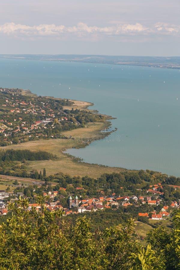 Paesaggio aereo per il Balaton in Ungheria fotografie stock