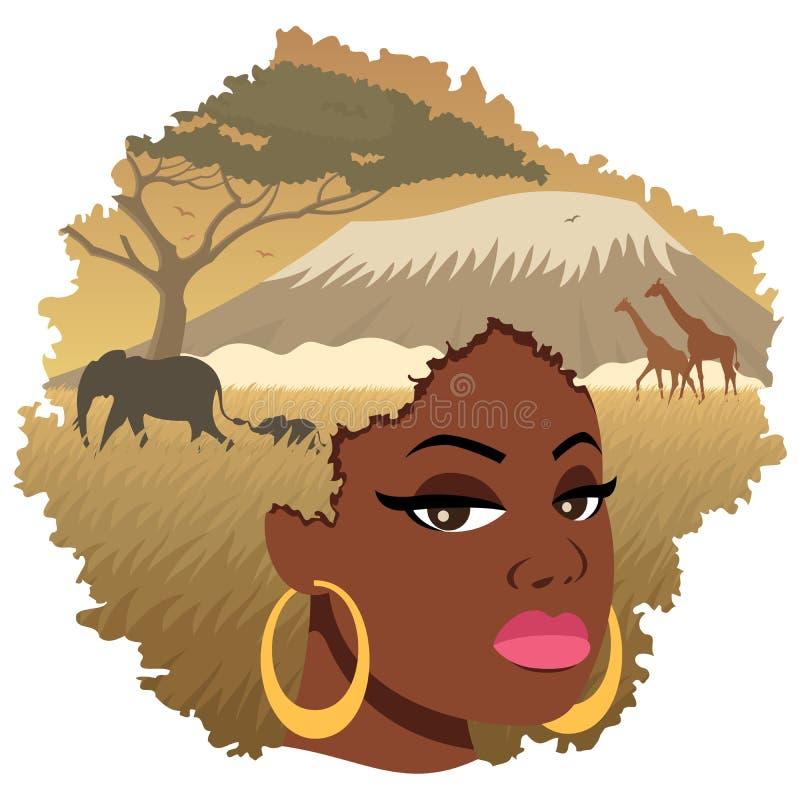Paesaggio africano 2 della ragazza illustrazione di stock