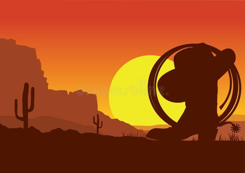 Paesaggio americano ad ovest selvaggio del deserto con lo stivale ed il lazo di cowboy royalty illustrazione gratis
