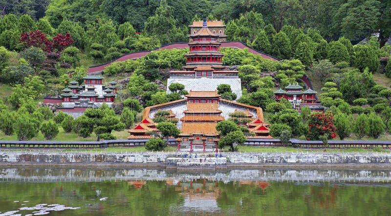 Paesaggio architettonico cinese miniatura fotografia stock