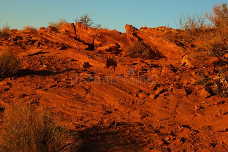 Paesaggio Arizona del deserto dell'arenaria Foto presa al parco nazionale a ferro di cavallo della curvatura fotografia stock libera da diritti