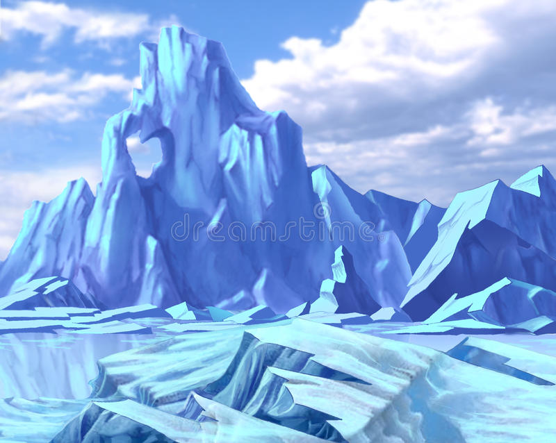 Paesaggio artico con le collinette e l'iceberg blu del ghiaccio illustrazione di stock