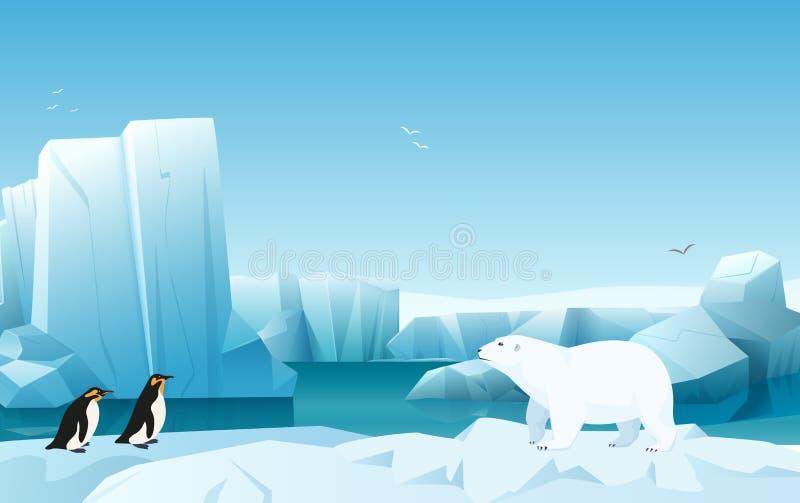 Paesaggio artico del ghiaccio di inverno della natura del fumetto con l'iceberg, colline delle montagne della neve Orso bianco e  royalty illustrazione gratis