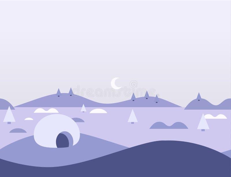 Paesaggio artico della natura senza cuciture del fumetto, illustrazione di vettore illustrazione di stock