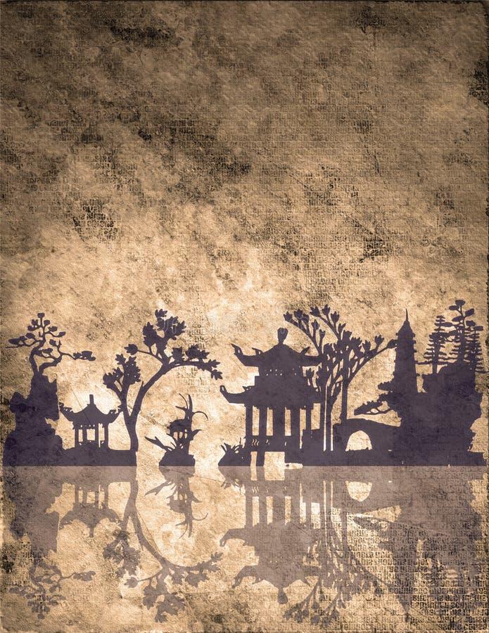 Paesaggio asiatico illustrazione vettoriale