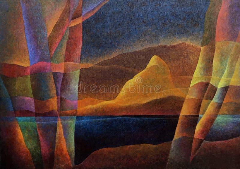 Paesaggio astratto 64, arte digitale da Afonso Farias & Denilson Bedin immagini stock