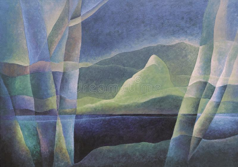 Paesaggio astratto 66, arte digitale da Afonso Farias & Denilson Bedin immagini stock libere da diritti