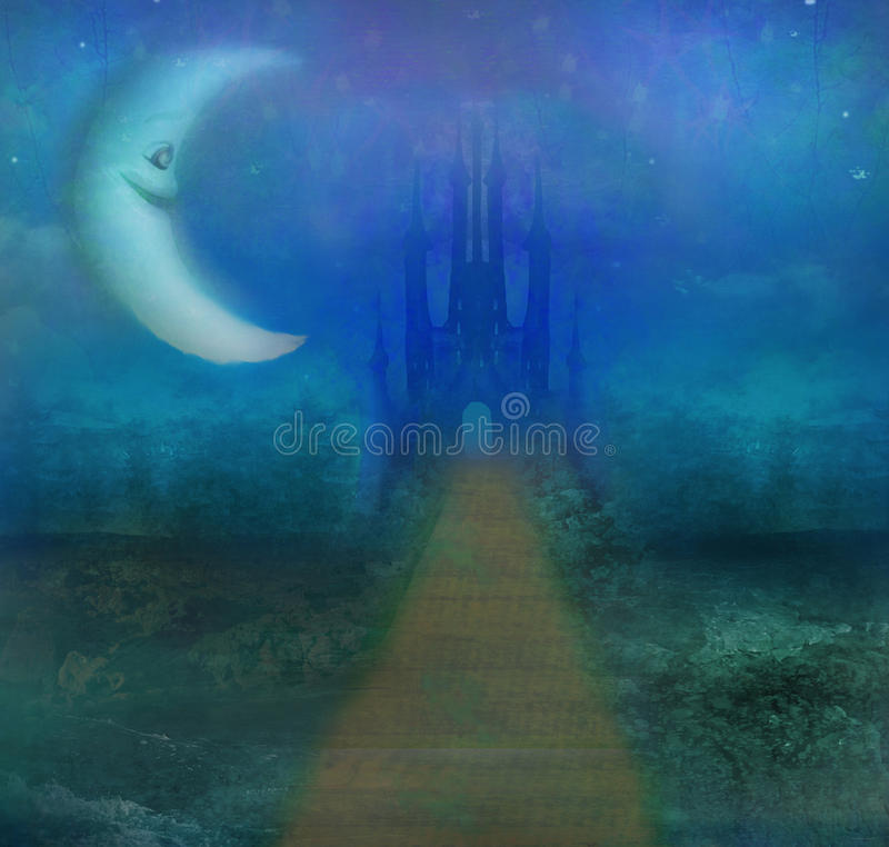 Paesaggio astratto con il vecchio castello e la luna sorridente illustrazione di stock