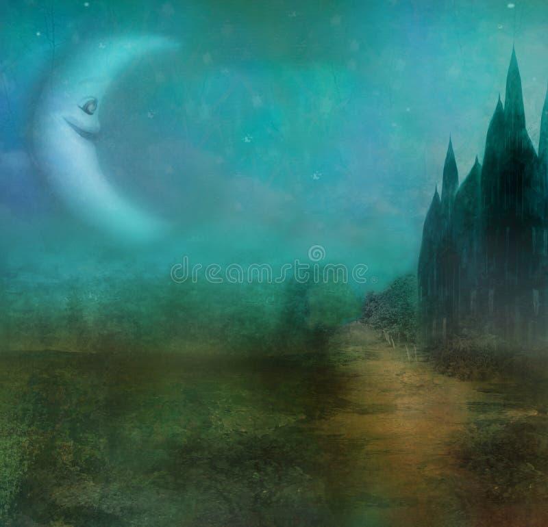Paesaggio astratto con il vecchio castello e la luna sorridente illustrazione vettoriale