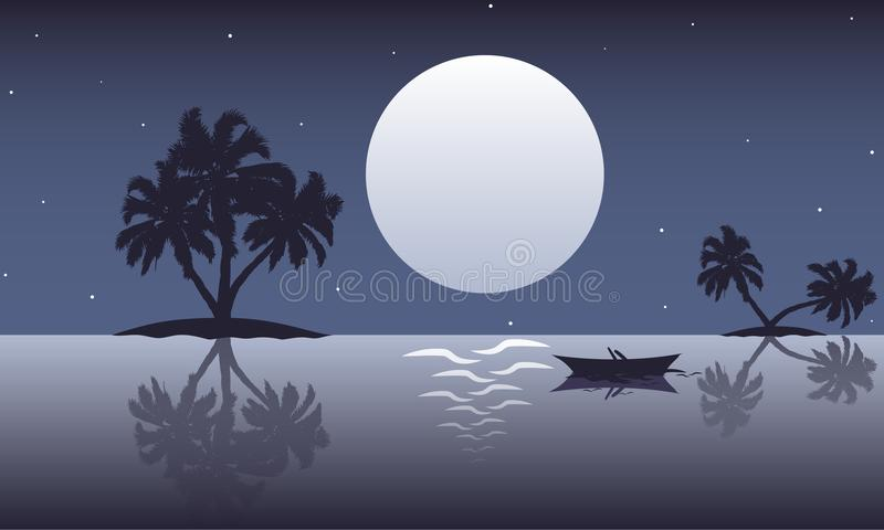 Paesaggio astratto dell'oceano con le palme ed i crogioli