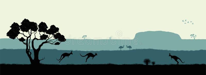 Paesaggio australiano Siluetta nera degli alberi, del canguro e dei ostrichs su fondo bianco La natura dell'Australia illustrazione di stock