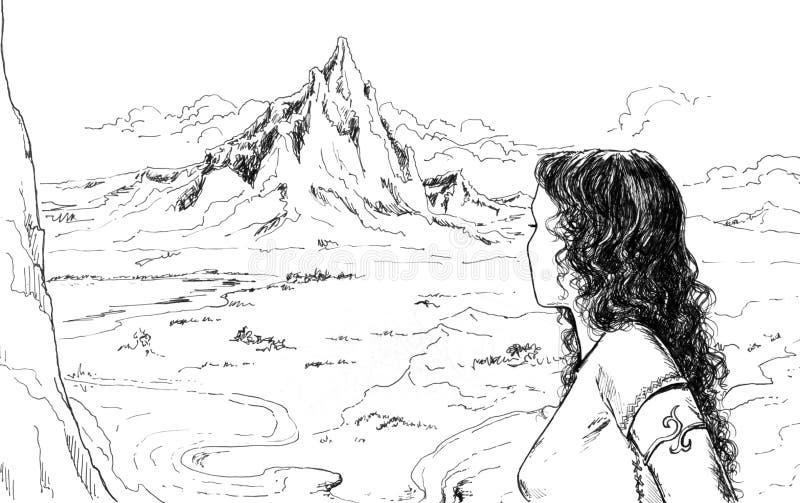 Paesaggio in bianco e nero con la ragazza - illustrazione illustrazione di stock