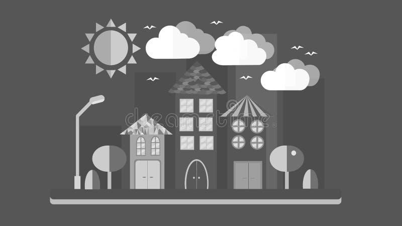 Paesaggio in bianco e nero della città nello stile piano La città con le case con il tetto pendente e le varie belle mattonelle c illustrazione vettoriale