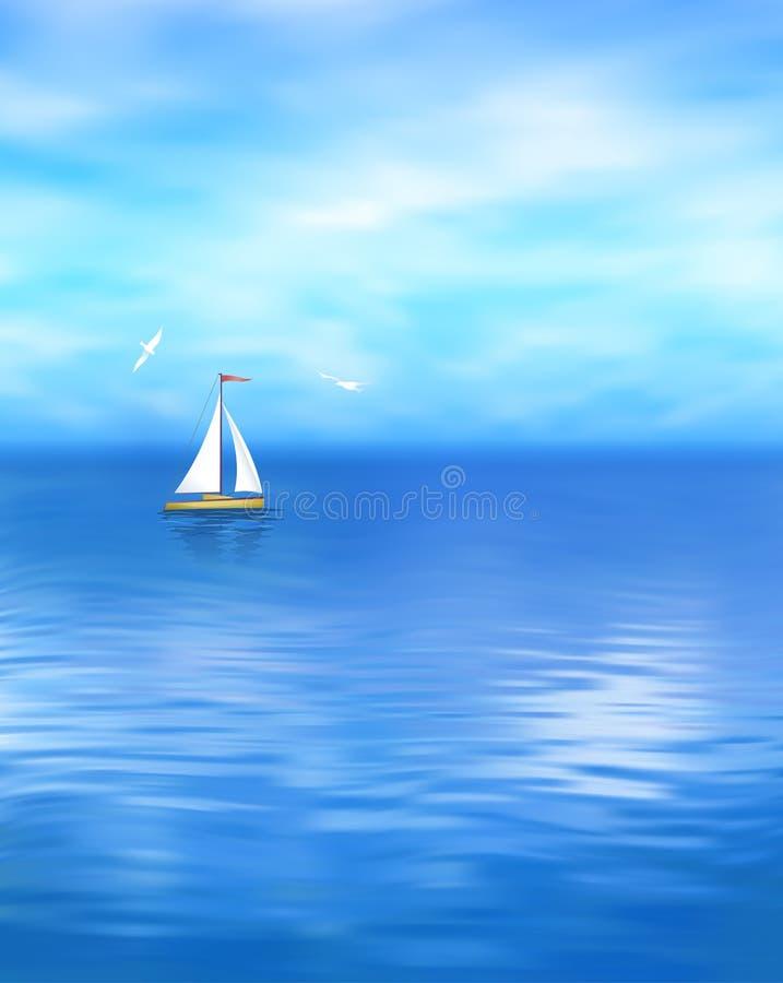 Paesaggio blu del mare di vettore dell'yacht illustrazione vettoriale