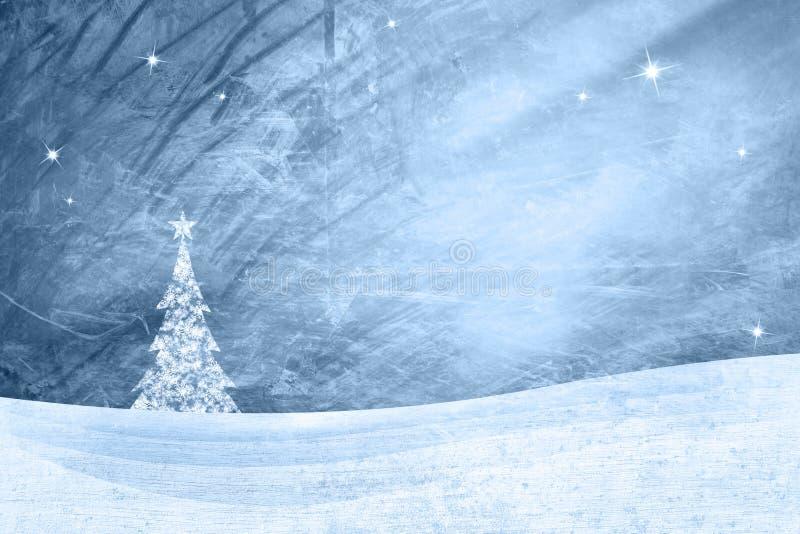 Paesaggio blu di inverno di lerciume con l'albero di natale illustrazione vettoriale