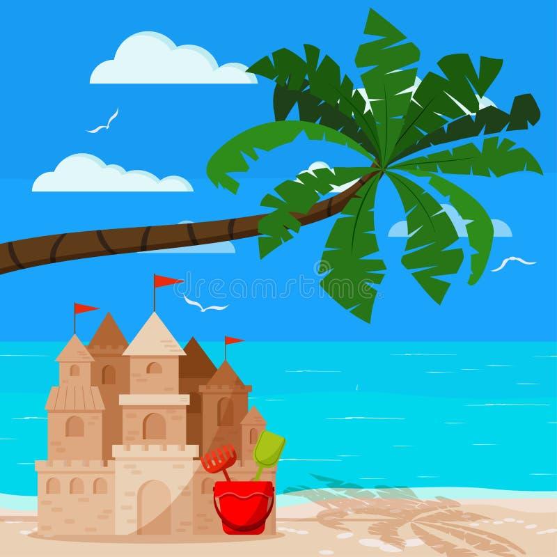 Paesaggio blu panoramico tropicale del mare: oceano calmo, palma, nuvole, linea costiera della sabbia illustrazione vettoriale