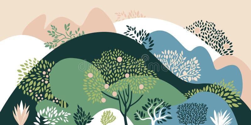 Paesaggio collinoso con gli alberi, i cespugli e le piante Piante crescenti e fare il giardinaggio Protezione e conservazione del illustrazione vettoriale