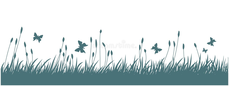 Paesaggio con erba e le farfalle illustrazione di stock