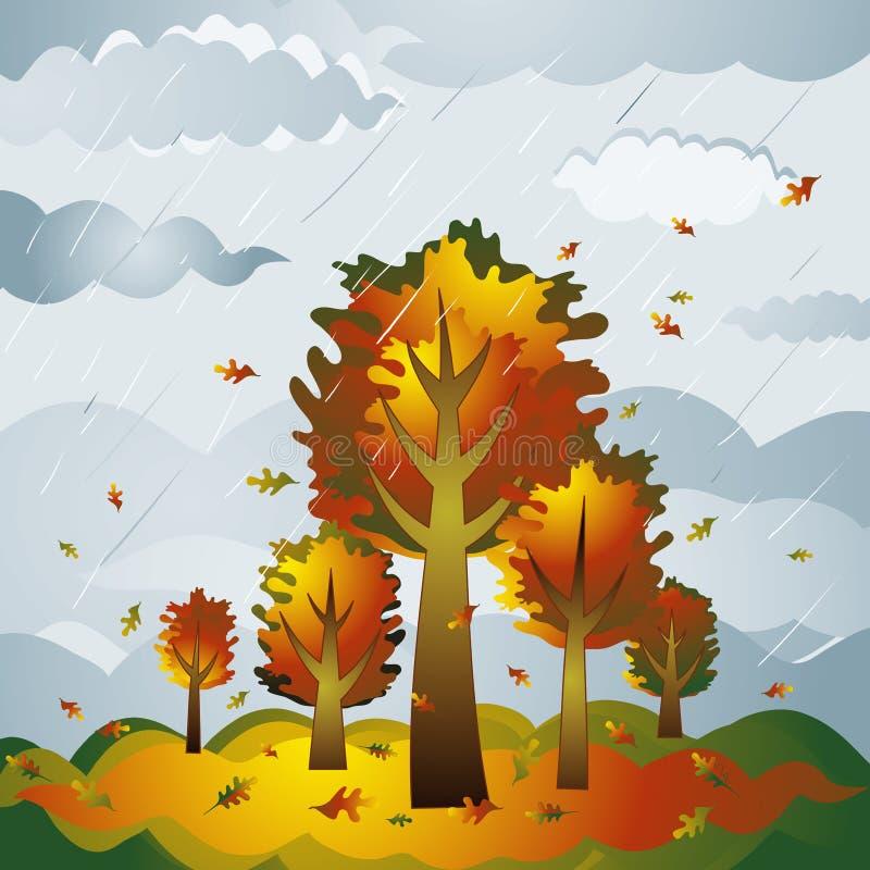 Paesaggio con gli alberi, vettore illustrazione di stock
