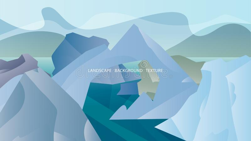 Paesaggio con gli iceberg e le colline a colori i colori freddi Illustr di vettore royalty illustrazione gratis