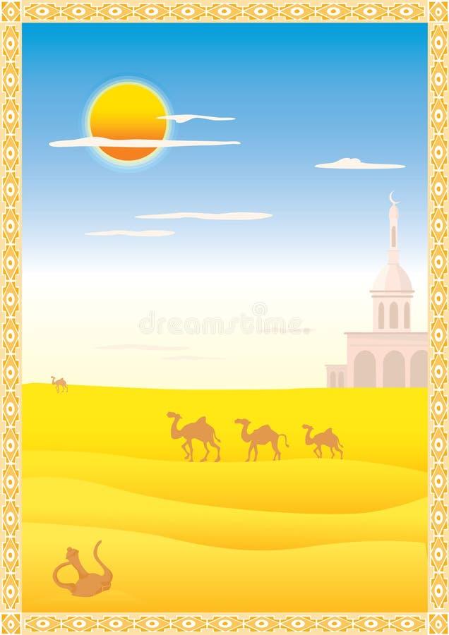Paesaggio con i cammelli illustrazione vettoriale