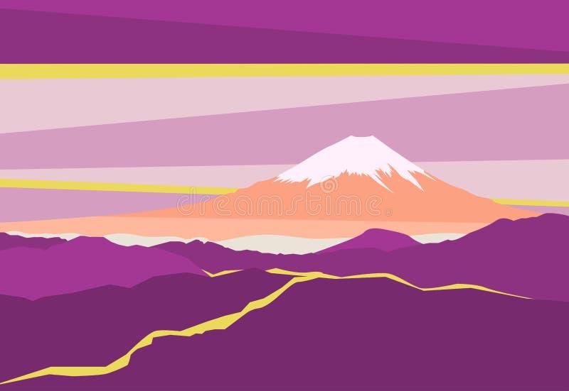 Paesaggio con i picchi di montagna nel Giappone Vista panoramica di sera del monte Fuji Illustrazione di vettore illustrazione di stock