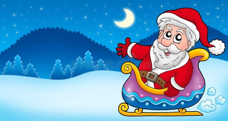 Paesaggio con il Babbo Natale 4 illustrazione vettoriale
