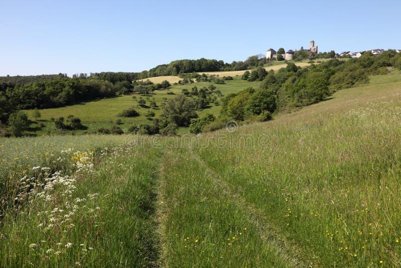 Paesaggio con il castello antico in Germania fotografie stock