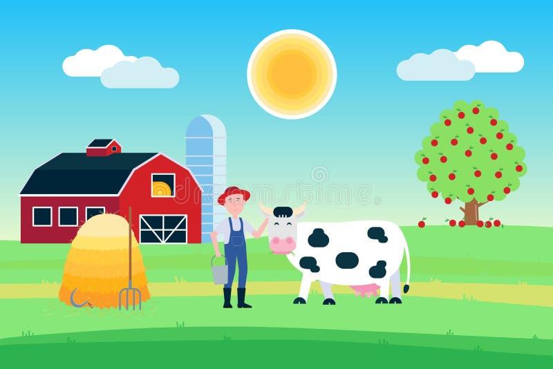 Paesaggio con il supporto macchiato bianco nero della mucca con la bocca dell'erba vicino all'agricoltore e mucchio di fieno dava illustrazione di stock