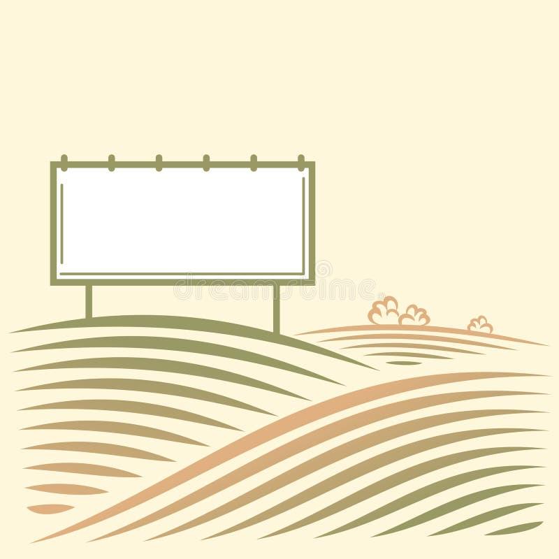 Paesaggio con il tabellone per le affissioni vuoto illustrazione vettoriale