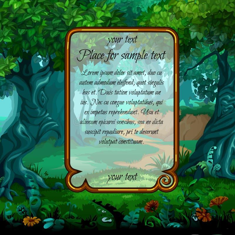 Paesaggio con il testo magico del campione e dell'albero illustrazione vettoriale