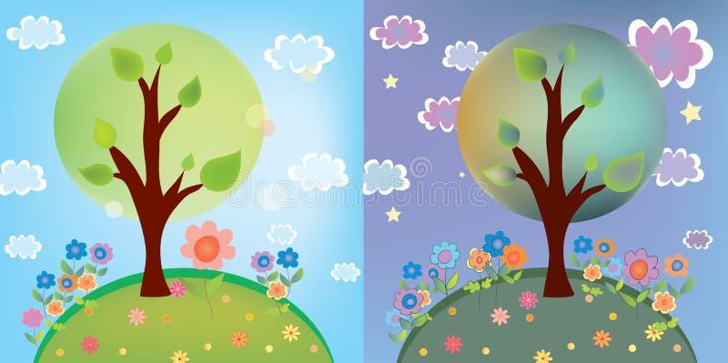 Paesaggio con l'albero al giorno ed alla notte royalty illustrazione gratis