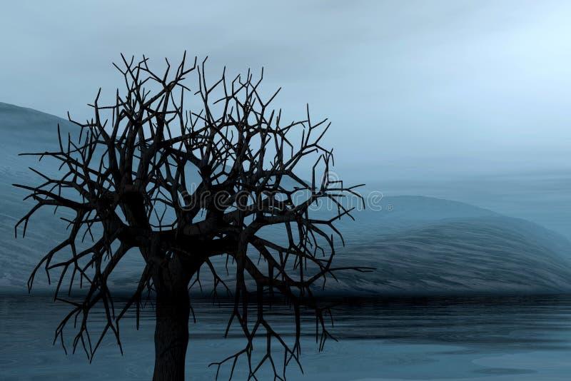 Paesaggio con l'albero solo illustrazione di stock