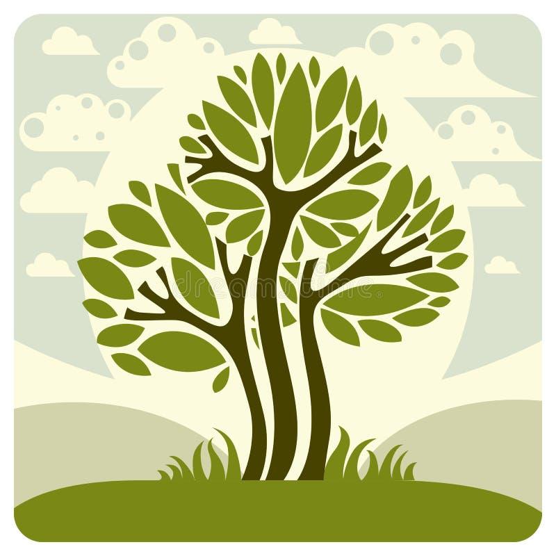 Paesaggio con l'albero stilizzato, scena pacifica di fantasia Condisca illustrazione vettoriale