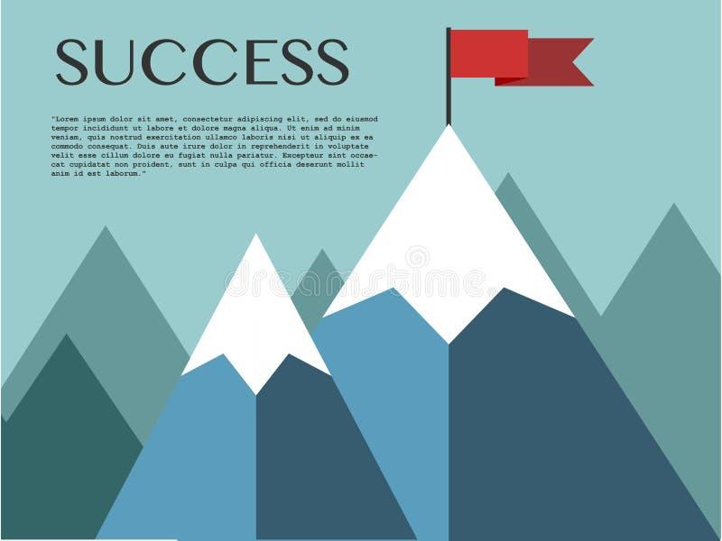 Paesaggio con la bandiera sulla montagna illustrazione vettoriale