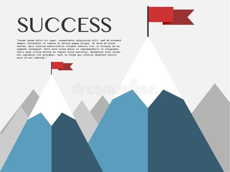 Paesaggio con la bandiera sulla montagna illustrazione di stock