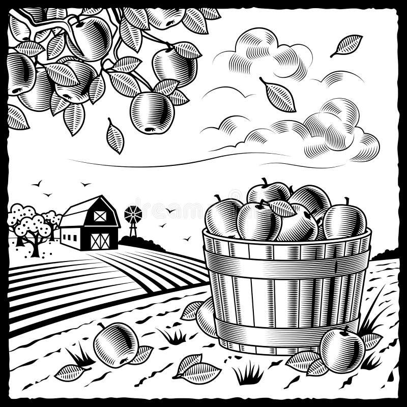 Paesaggio con la raccolta della mela in bianco e nero illustrazione vettoriale