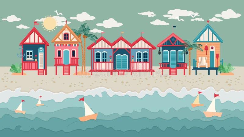 Paesaggio con le capanne della spiaggia in una fila royalty illustrazione gratis